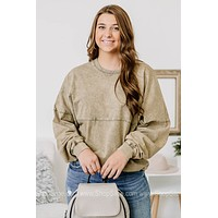 I'm Busy Chasing Dreams Mineral Washed Top | Olive