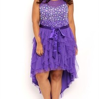 Plus Size High Low Illusion Stone Prom Dress with Tendril Skirt
