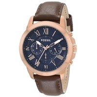 Fossil FS5068 Men's Grant Blue Dial Rose Gold Steel Brown Leather Strap Chronograph Watch