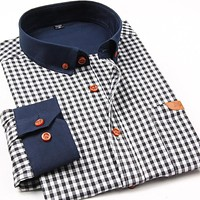 Autumn New Fashion Men Plaid Casual Shirts Slim Fit Long Sleeve Cotton High Quality Collar Button-up Social Men Dress Shirt