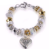 Pearl White Glass Beads With Heart Charm Bracelet For Woman