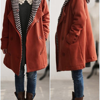 Hearts/ autumn cotton double breasted hooded coat