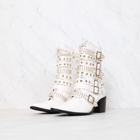Cape Robbin Rockstar Studded Pointed Toe Buckled Ankle Bootie in White