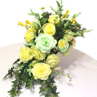Cascading bouquet in soft Yellow and baby green paper Roses and Peonies with silk flowers and leaves, Can be made in many different colors