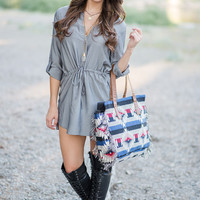 One More Time Button Up Cinched Dress (Gray)