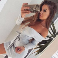 Womens Gray Long Sleeve Off Shoulder Mini Dress Gift