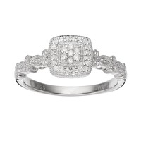 Always Yours Diamond Cluster Halo Engagement Ring in Sterling Silver (1/10 Carat T.W.) (White)