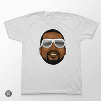Kanye Head - Kanye West in Sunglasses White Unisex T-Shirt - Sizes - Medium Large