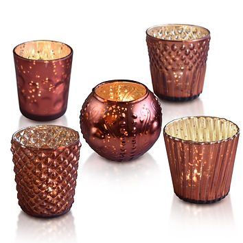 Vintage Elegance Rustic Copper Red Mercury Glass Tea Light Votive Candle Holders (Set of 5, Assorted Designs and Sizes)