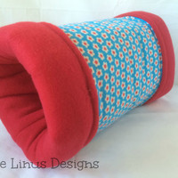 Cozy Tunnel Tube - Flowers / Red - Fleece & Flannel - Hedgehog / Guinea Pig / Ferret / Rat / Small Animal / Pet