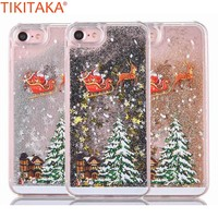 Santa Claus Elk Case For iPhone 7 7 Plus Case Christmas Quicksand Liquid Giltter Phone Case For iPhone 6 6s 8 Plus Coque Capa