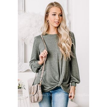 Knot Giving Up Olive Balloon Sleeve Top
