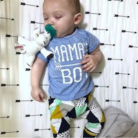 Newborn Infant Baby Boy Summer Clothes Mama's Boy Short Sleeve T-Shirt Tops Tops+Geometric Pants 2Pcs Toddler Clothing Set