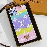 LV Case Louis Vuitton Clouds Gradient Monogram iPhone 6 s 7 s 8 XS XR 11 Pro Max Colorful Purple yellow
