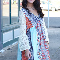 Printed Boho Dress with Lace Sleeves {Orange Mix}
