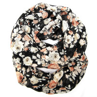 Rose Infinity Scarf Floral Eternity Scarf Teen Circle Scarf Black Peach Cream Pretty Rose Scarf Teen Womens Gift
