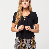 FULL TILT Lace Up Womens Top | Essentials