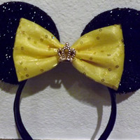 Black Minnie Mouse Ears Headband with gold bow crown princess Mickey Mouse Ears, Disneyland, Disney World
