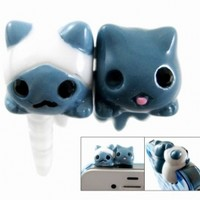 OOOUSE 3D Twin Cat 3.5mm Earphone Jack Dustproof Plug Ear Dust Cap for iPhone 4 4G 4S