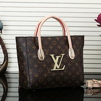 LV Louis Vuitton Trend Classic Letter Print Gold Buckle Handbag Shoulder Bag Messenger Bag