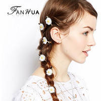 1 pcs Fashion Wedding Hair Jewelry Lovely Resin Flower Daisy Hairpins New Coming Hairwear Wedding Hair Accessories for Women