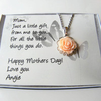 Personalized Gift For Mom, Mothers Day Gift, Mothers Day Necklace, Rose Pendant Chain, Rose Filigree Necklace Pale Peach