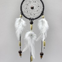 """Bistore - Handmade Dreamcatcher, 2.7"""" Diameter, Good for Car, Wall Hanging Ornament, and Gift (2.7"""" hoop - 12"""" in length, Black)"""