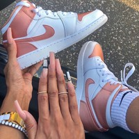 NIKE   AIR Jordan MID GS AJ1 Rose Gold Basketball Shoes