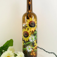 Lighted Wine Bottle Sunflowers Brown Hand by PaintingByElaine