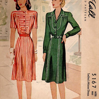 Vintage 1940s McCall Sewing Pattern 5167 Casual Day Dress WWII Style Fashion Straight Skirt Shaped Yoke Winged Collar Bust 32