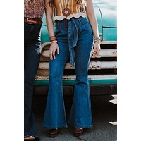 Kaitlyn Paperbag Waist Jeans - Blue