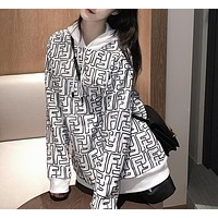 Fendi new high-quality double F letter printed hooded sweater