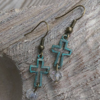 Cross dangle earrings. Crystal dangle. Fashion earrings