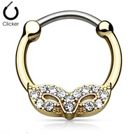 Masquerade Mask with Gem Gold Ip 316l Surgical Steel Round Septum Clicker
