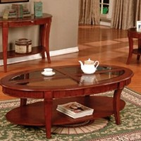 A.M.B. Furniture & Design :: Living room furniture :: Coffee table sets :: 3 pc Cherry finish wood contemporary style oval coffee table and end tables with glass inserts