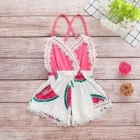 Cute Baby Girl Sleeveless Watermelon Romper (Multiple Sizes Available!)