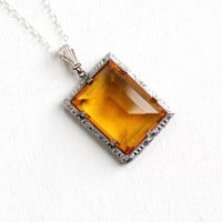 Antique Art Deco Simulated Citrine Filigree Pendant Necklace - Vintage 1920s 1930s Sterling Silver Yellow Brown Glass Jewelry