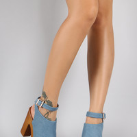 Denim Ankle Buckle Faux Wood Open Toe Heel