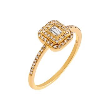Diamond Baguette Illusion Ring 14K