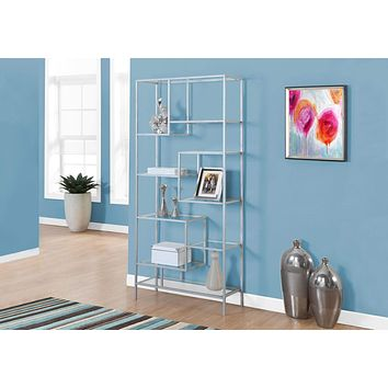 """Modern Bookshelf - 72"""" Metal and Tempered Glass Bookcase"""