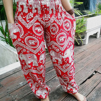 Red Yoga Elephant Pants Harem Boho Style Printed Design Casual Beach Hippie Massage Rayon pants Gypsy Thai Batik Women Tribal Plus Size Tank
