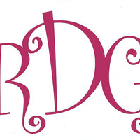 Large Monogram Car Decal, Wall Decal, Custom Vinyl Decal, Turquoise, Blue, Pink, Green, Yellow, Purple
