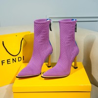 FENDI womens 2020 new office Logo-embossed leather Fashion Sports Elastic Stocking Ankle Short Boots high heels shoes purple