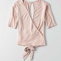AEO Wrap Front T-Shirt, Light Pink
