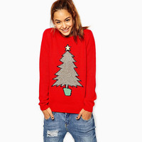 Red Christmas Tree Loose Ribbed Jacquard Sweater