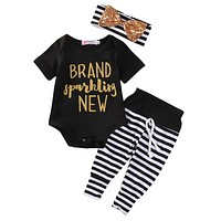Sparkling born Baby Girls Romper+ Stripe Pants+headband 3pcs set newborn baby Girls clothes sets