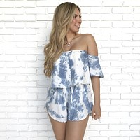 Maui Blue Tie Dye Off Shoulder Romper