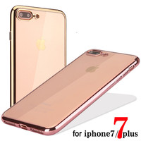 """Ultra Thin Plating Crystal Clear Case For iphone 7 Case For iphone7 7 Plus 4.7/5.5"""" Phone Cases Transparent Soft TPU Back Cover"""