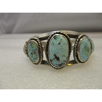 """Vintage Southwestern/Navajo Old Pawn Cuff Bracelet, Turquoise Heavy,  6.5""""  87.27 grams,  1.5"""" wide, Tapered"""