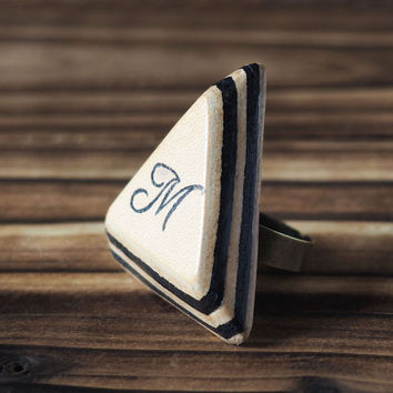 Personalized Initial Leather Ring #Black